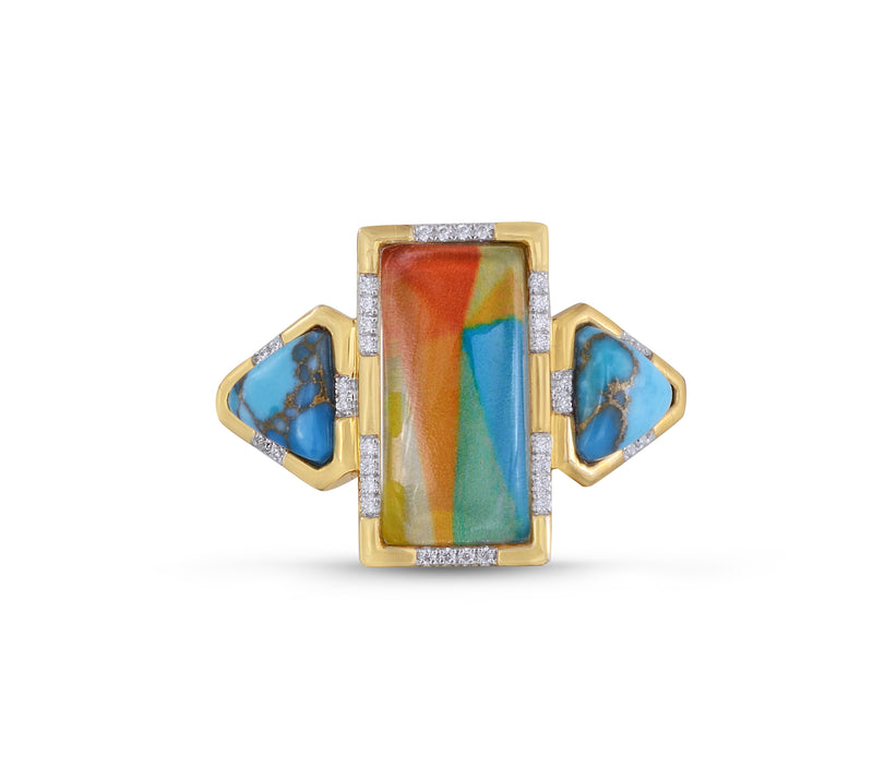 Wild & Free Diamond Mosaic Turquoise Ring in 14K Yellow Gold Plated Sterling Silver