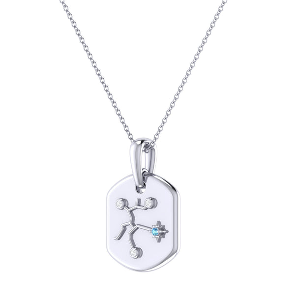 Sagittarius Archer Blue Topaz & Diamond Constellation Tag Pendant Necklace in Sterling Silver