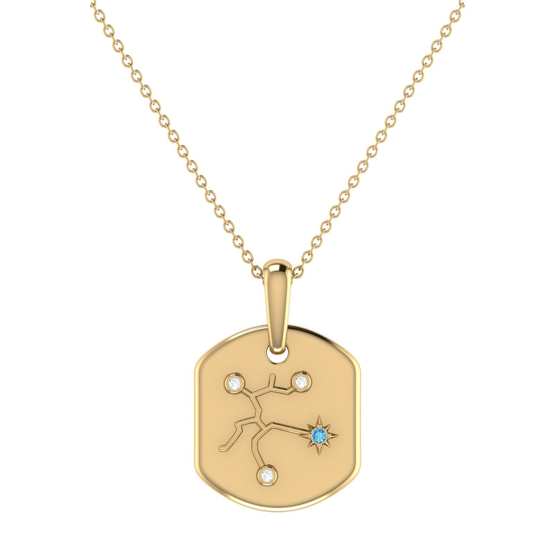 Sagittarius Archer Blue Topaz & Diamond Constellation Tag Pendant Necklace in 14K Yellow Gold Vermeil on Sterling Silver