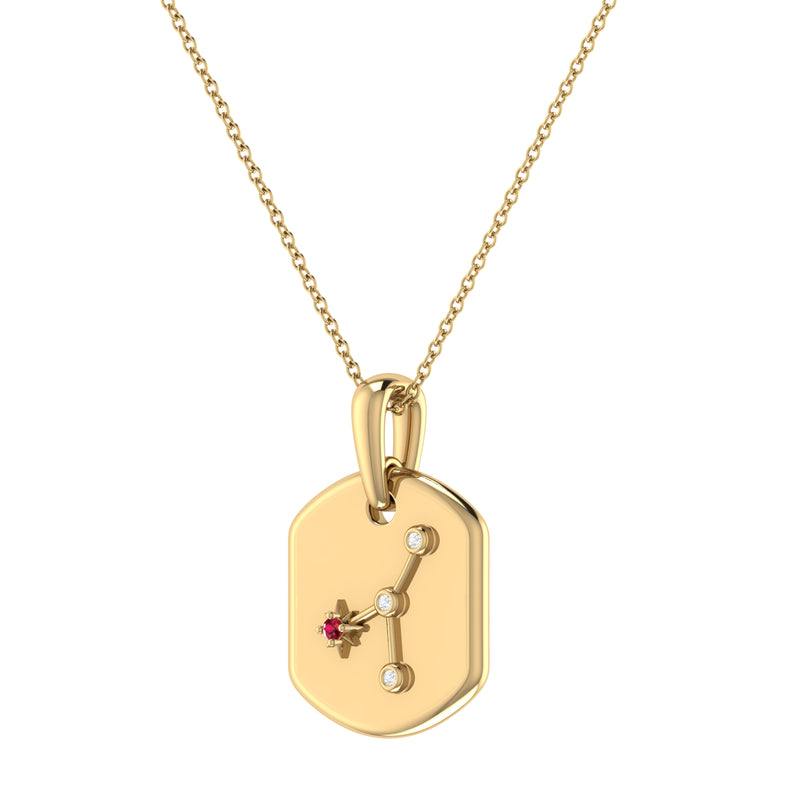 Cancer Crab Ruby & Diamond Constellation Tag Pendant Necklace in 14K Yellow Gold Vermeil on Sterling Silver