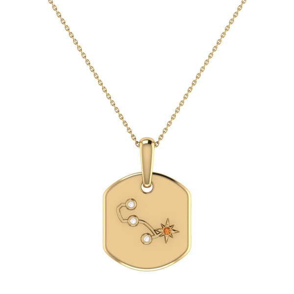 Scorpio Citrine & Diamond Constellation Tag Pendant Necklace in 14K Yellow Gold Vermeil on Sterling Silver