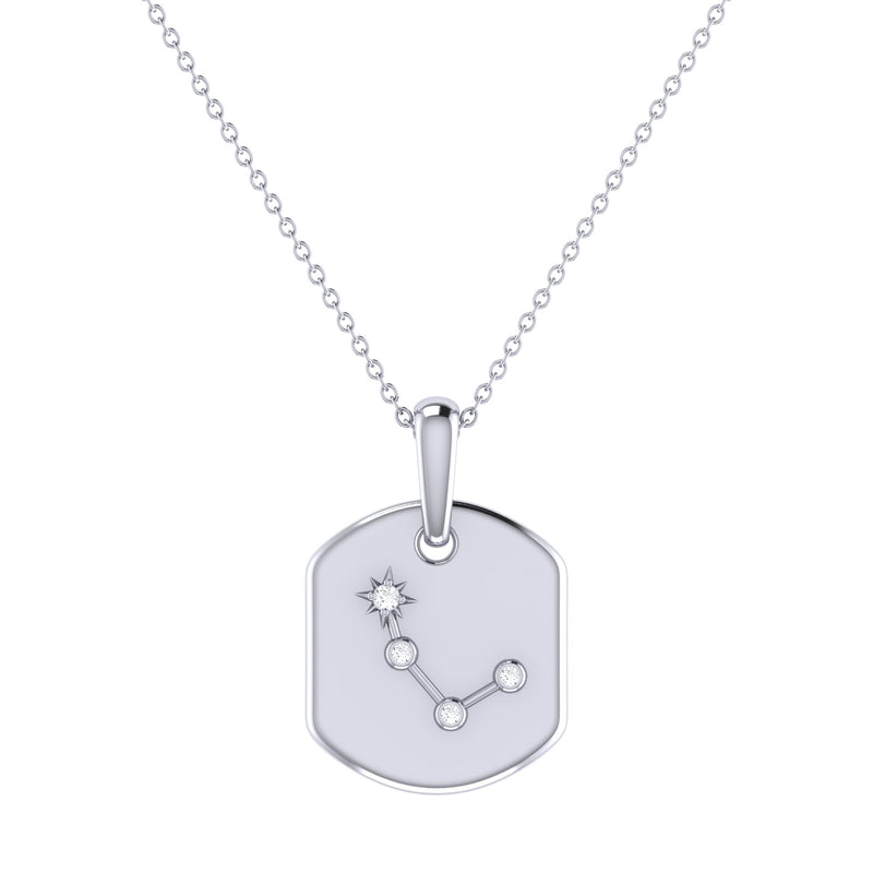 Aries Ram Diamond Constellation Tag Pendant Necklace in Sterling Silver