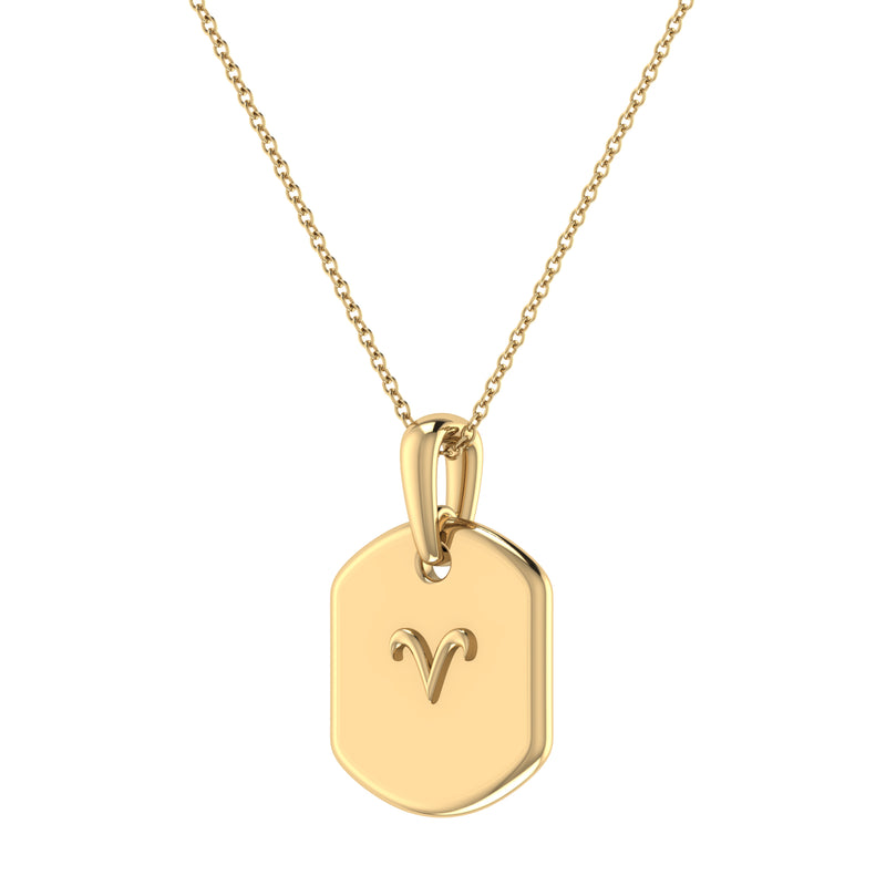 Aries Ram Diamond Constellation Tag Pendant Necklace in 14K Yellow Gold Vermeil on Sterling Silver
