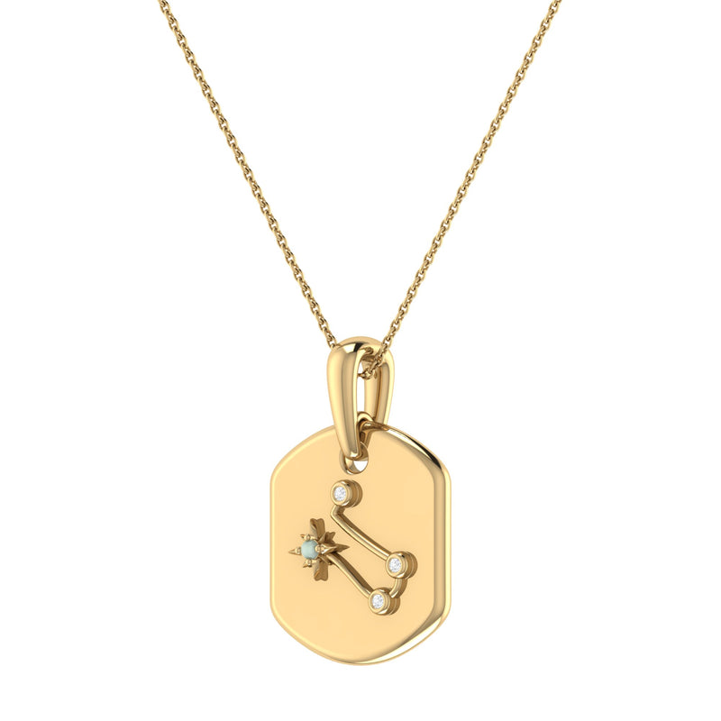 Gemini Twin Moonstone & Diamond Constellation Tag Pendant Necklace in 14K Yellow Gold Vermeil on Sterling Silver