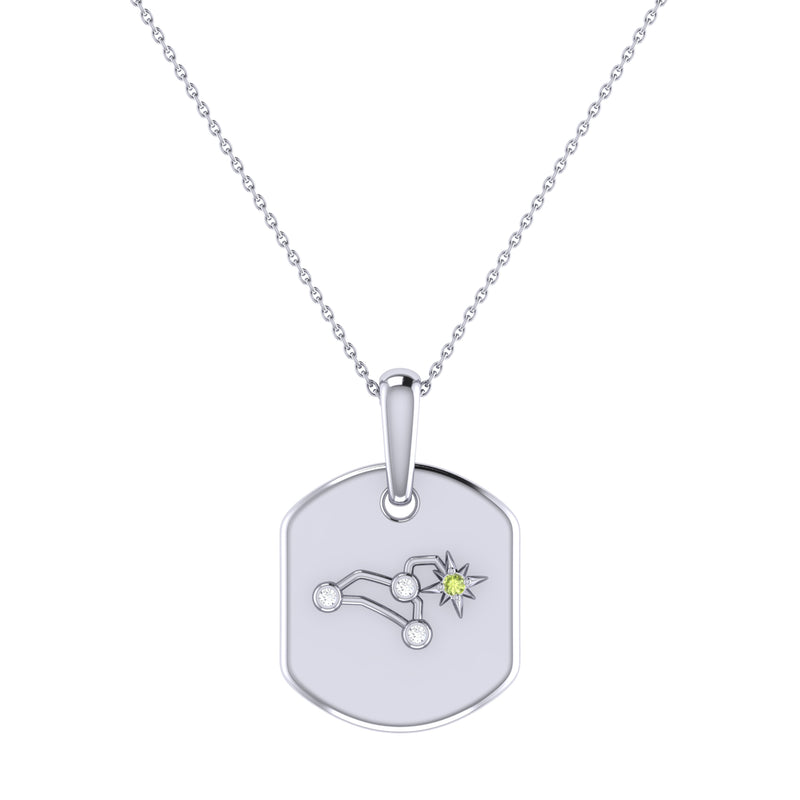 Leo Lion Peridot & Diamond Constellation Tag Pendant Necklace in Sterling Silver