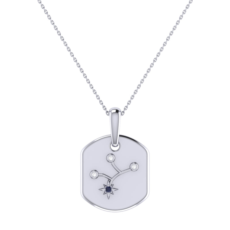Virgo Maiden Blue Sapphire & Diamond Constellation Tag Pendant Necklace in Sterling Silver