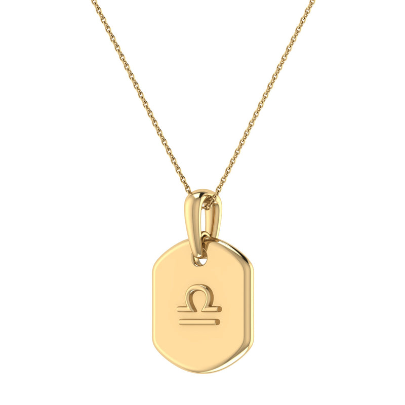 Libra Scales Pink Tourmaline & Diamond Constellation Tag Pendant Necklace in 14K Yellow Gold Vermeil on Sterling Silver