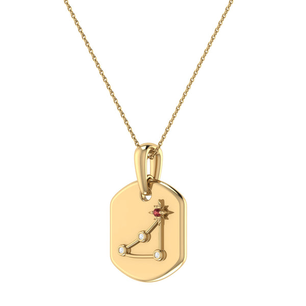 Capricorn Goat Garnet & Diamond Constellation Tag Pendant Necklace in 14K Yellow Gold Vermeil on Sterling Silver