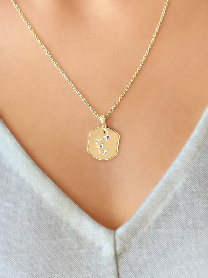 Aquarius Water-Bearer Amethyst & Diamond Constellation Tag Pendant Necklace in 14K Yellow Gold Vermeil on Sterling Silver