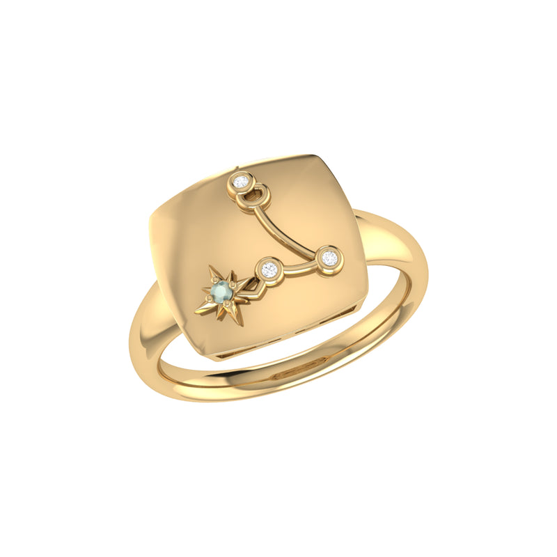 Pisces Two Fish Aquamarine & Diamond Constellation Signet Ring in 14K  Yellow Gold Vermeil on Sterling Silver