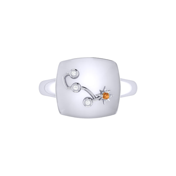Scorpio Citrine & Diamond Constellation Signet Ring in Sterling Silver