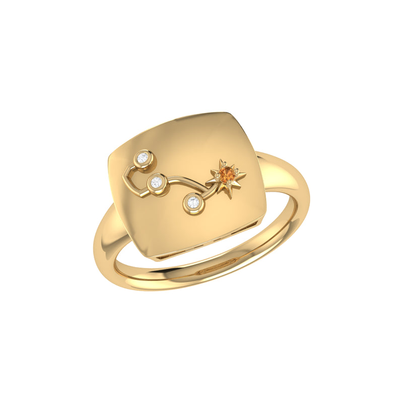 Scorpio Citrine & Diamond Constellation Signet Ring in 14K Yellow Gold Vermeil on Sterling Silver