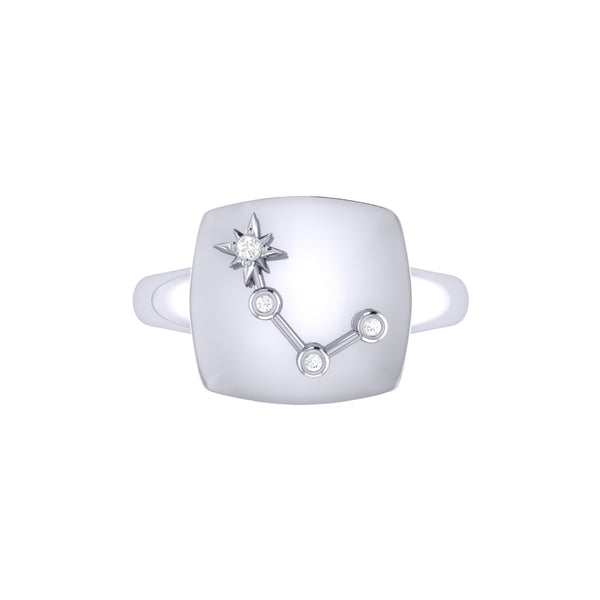 Aries Ram Diamond Constellation Signet Ring in Sterling Silver