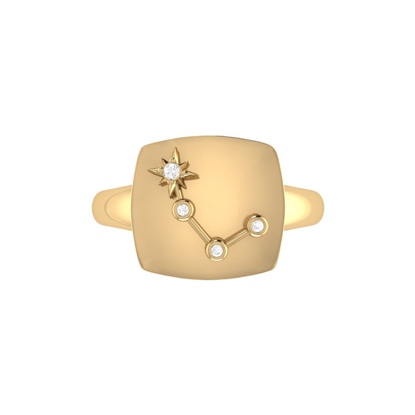 Aries Ram Diamond Constellation Signet Ring in 14K Yellow Gold Vermeil on Sterling Silver