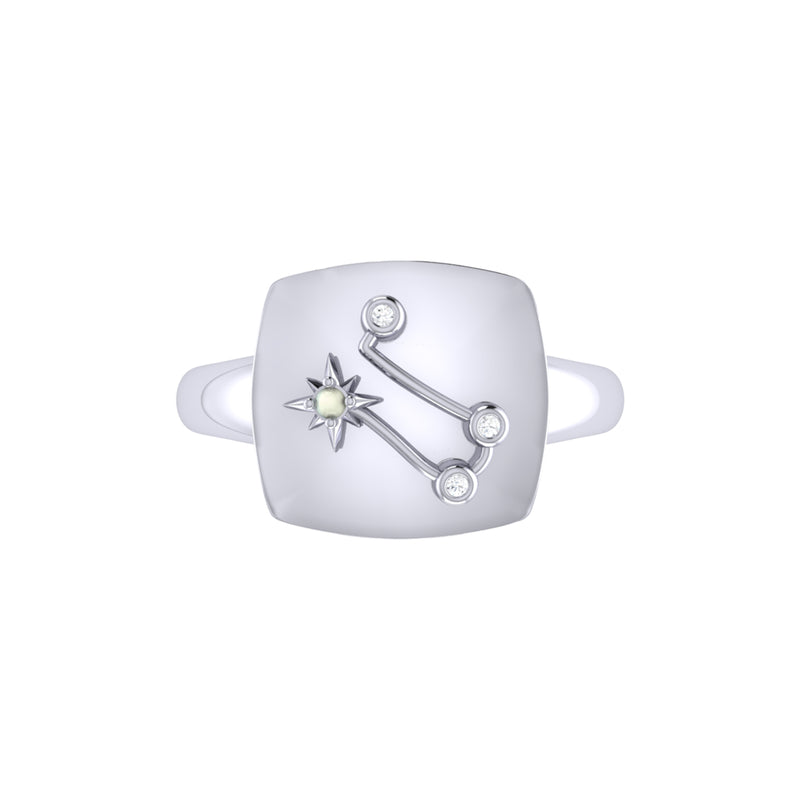 Gemini Twin Moonstone & Diamond Constellation Signet Ring in Sterling Silver