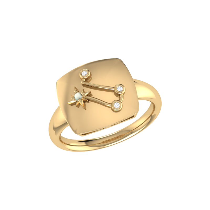 Gemini Twin Moonstone & Diamond Constellation Signet Ring in 14K Yellow Gold Vermeil on Sterling Silver