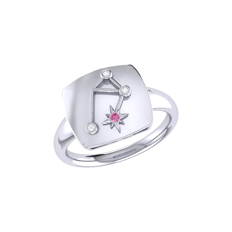 Libra Scales Pink Tourmaline & Diamond Constellation Signet Ring in Sterling Silver