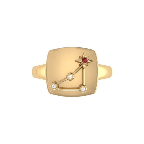 Capricorn Goat Garnet & Diamond Constellation Signet Ring in 14K Yellow Gold Vermeil on Sterling Silver