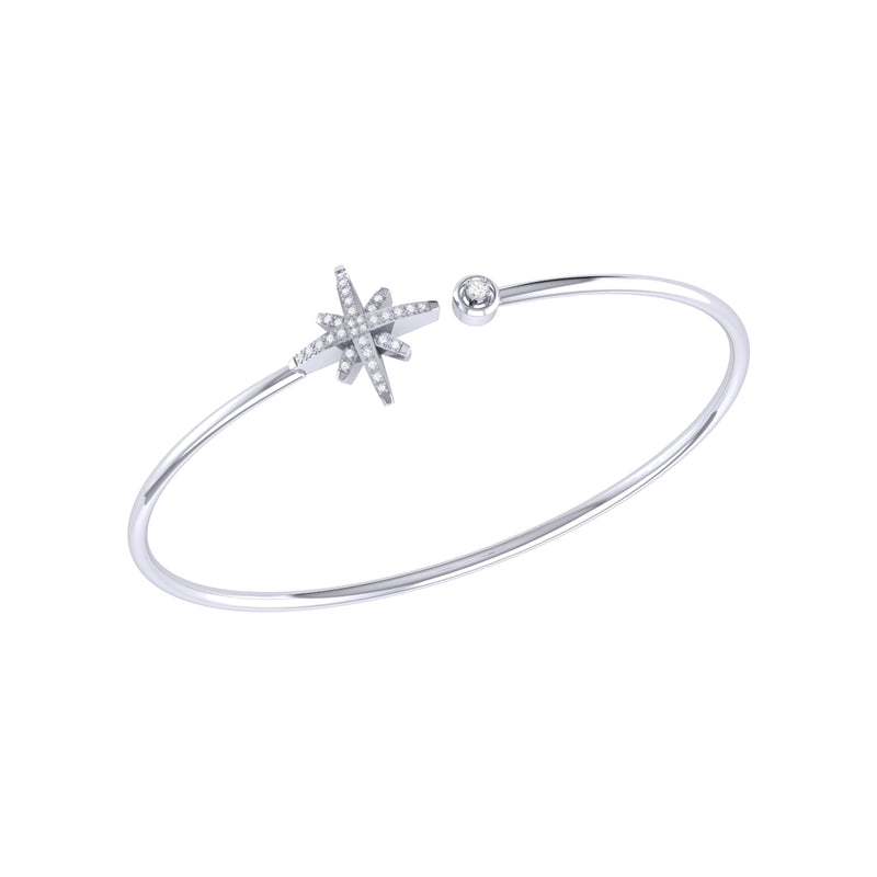 North Star Adjustable Diamond Cuff in Sterling Silver