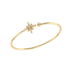 North Star Adjustable Diamond Cuff in 14K Yellow Gold Vermeil on Sterling Silver