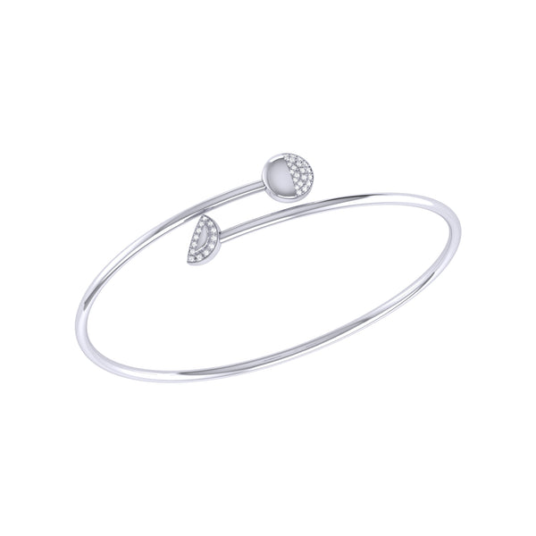 Moon Stages Adjustable Diamond Bangle in Sterling Silver