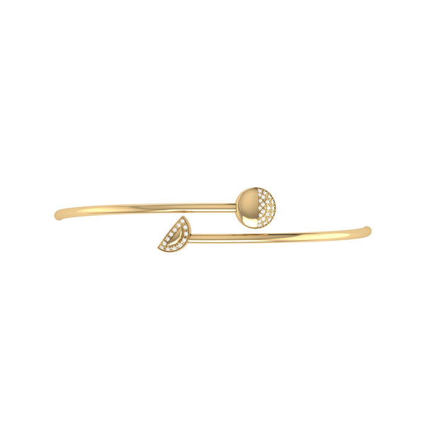 Moon Stages Adjustable Diamond Bangle in 14K Yellow Gold Vermeil on Sterling Silver