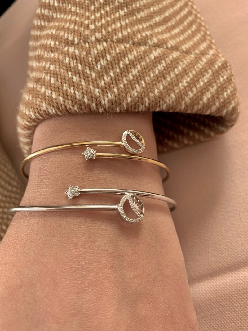 Half Moon Star Adjustable Diamond Bangle in Sterling Silver