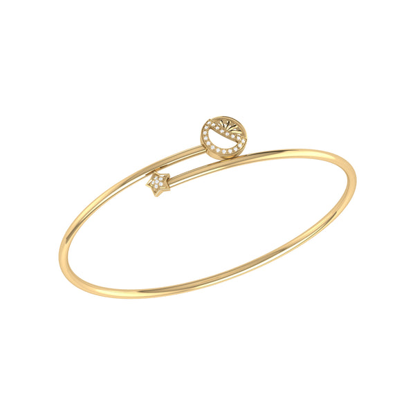 Half Moon Star Adjustable Diamond Bangle in 14K Yellow Gold Vermeil on Sterling Silver