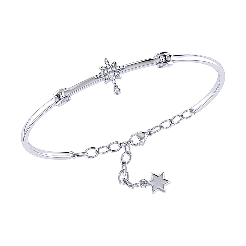 Supernova Bezel Drop Diamond Bangle in Sterling Silver