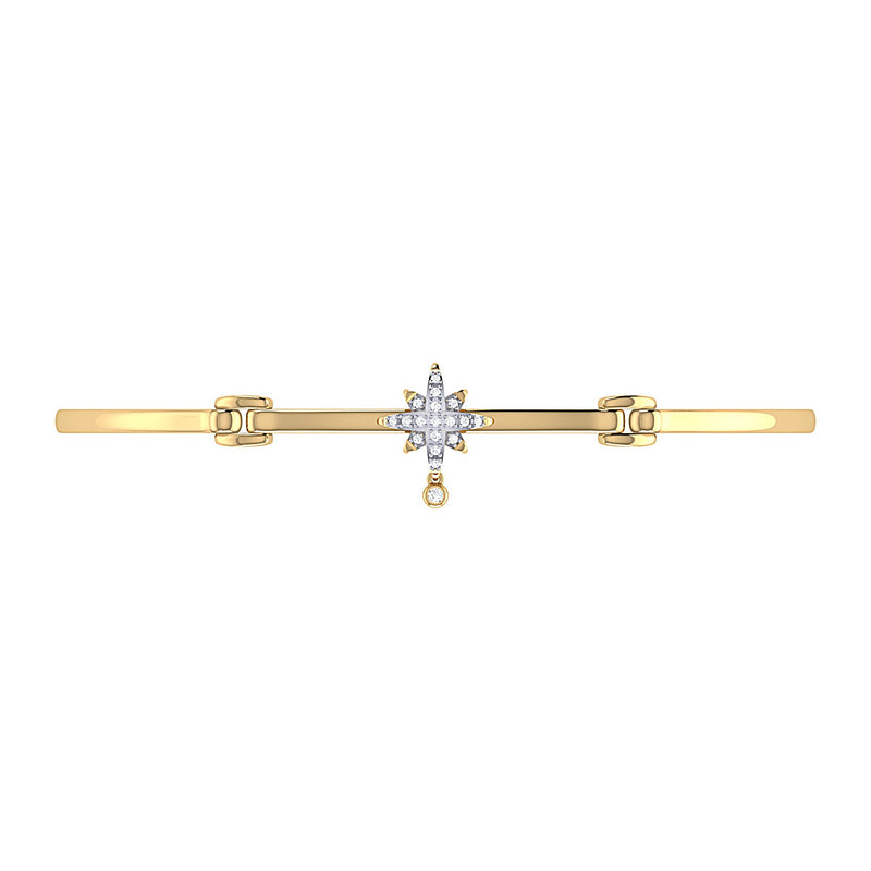 Supernova Bezel Drop Diamond Bangle in 14K Yellow Gold Vermeil on Sterling Silver