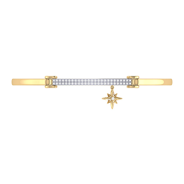 Little North Star Diamond Bar Bangle in 14K Yellow Gold Vermeil on Sterling Silver