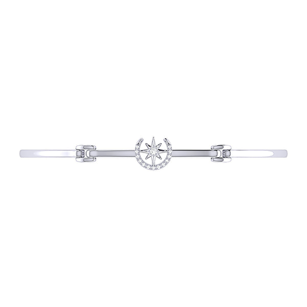 North Star Crescent Diamond Bangle in Sterling Silver