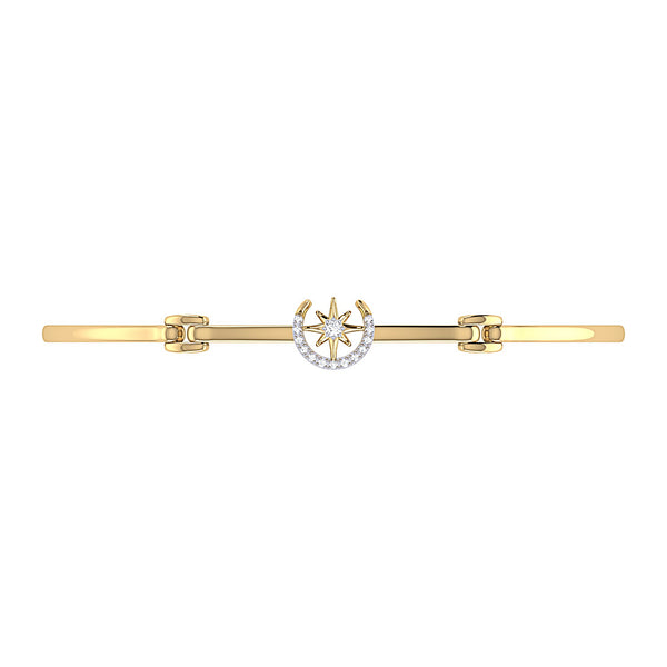 North Star Crescent Diamond Bangle in 14K Yellow Gold Vermeil on Sterling Silver