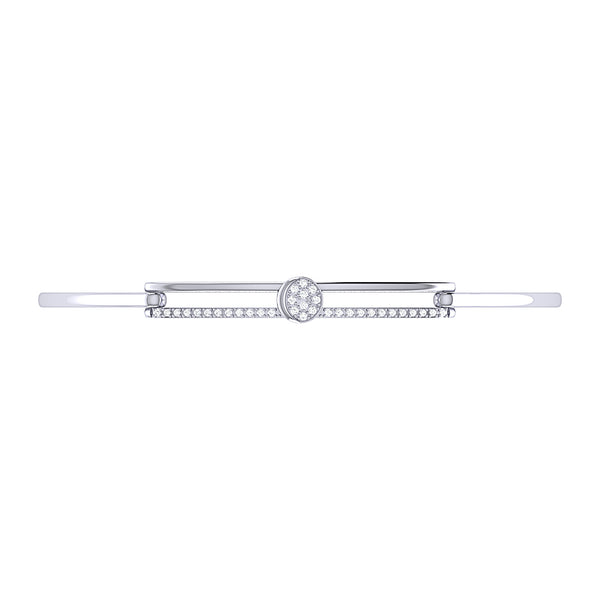 Moonlit Phases Diamond Bangle in Sterling Silver