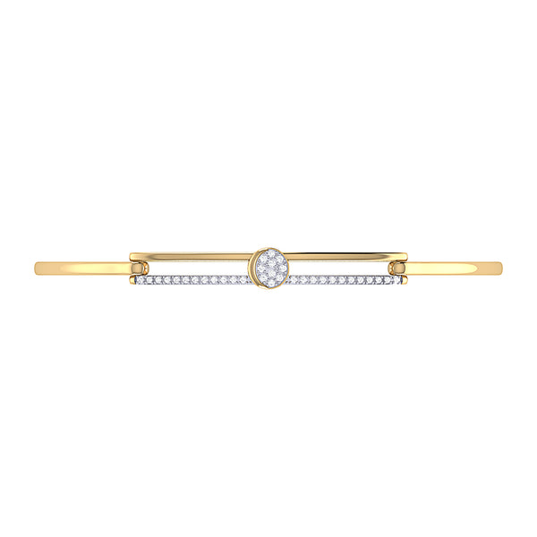 Moonlit Phases Diamond Bangle in 14K Yellow Gold Vermeil on Sterling Silver