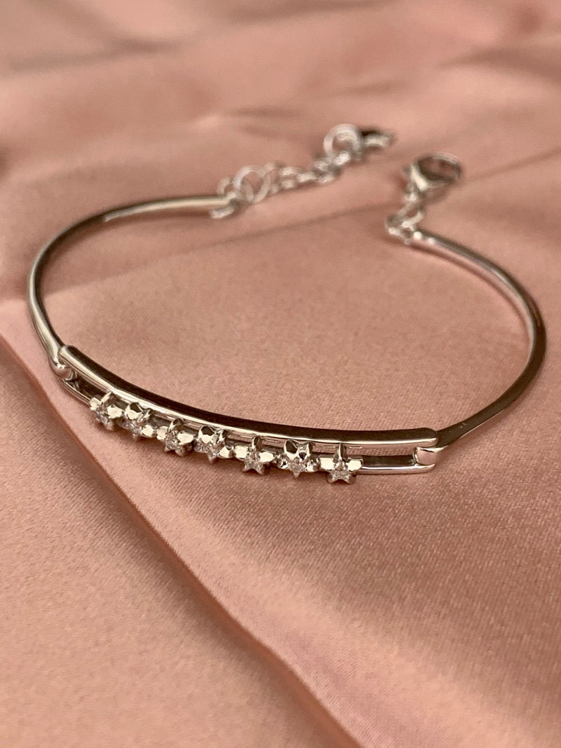 Starry Lane Diamond Bangle in Sterling Silver