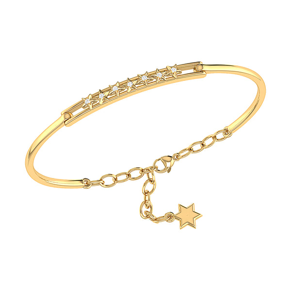 Starry Lane Diamond Bangle in 14K Yellow Gold Vermeil on Sterling Silver