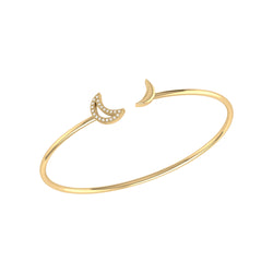 Date Night Double Crescent Adjustable Diamond Cuff in 14K Yellow Gold Vermeil on Sterling Silver