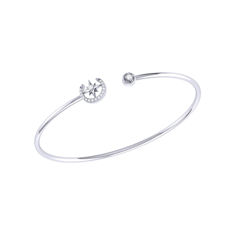 North Star Crescent Adjustable Diamond Cuff in Sterling Silver