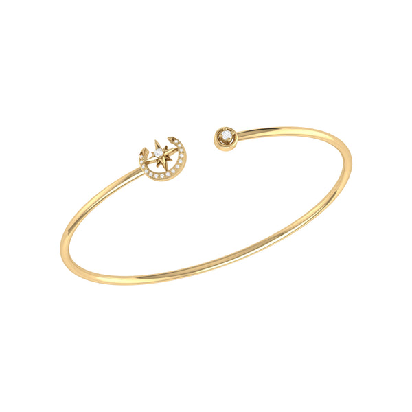 North Star Crescent Adjustable Diamond Cuff in 14K Yellow Gold Vermeil on Sterling Silver