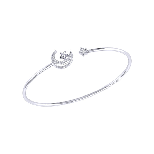 Starkissed Crescent Adjustable Diamond Cuff in Sterling Silver
