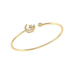 Starkissed Crescent Adjustable Diamond Cuff in 14K Yellow Gold Vermeil on Sterling Silver