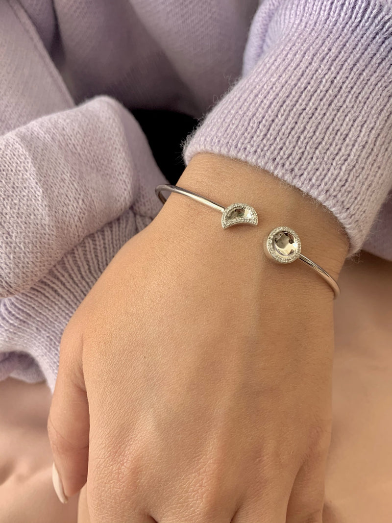 Moon Phases Adjustable Diamond Cuff in Sterling Silver