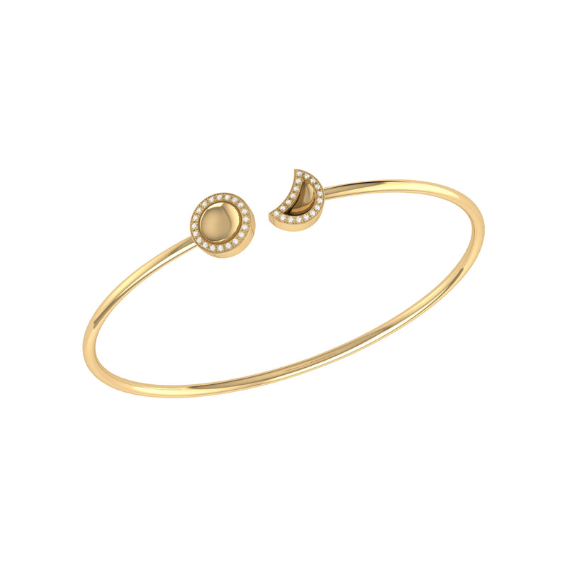 Moon Phases Adjustable Diamond Cuff in 14K Yellow Gold Vermeil on Sterling Silver