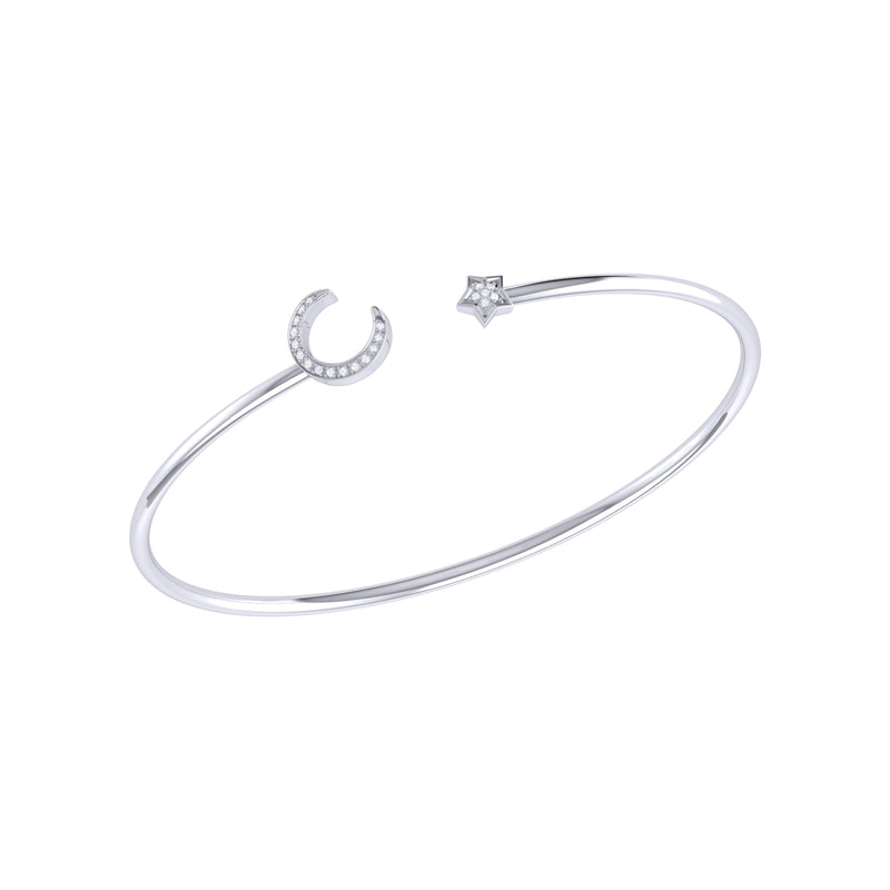 Moonlit Star Adjustable Diamond Cuff in Sterling Silver