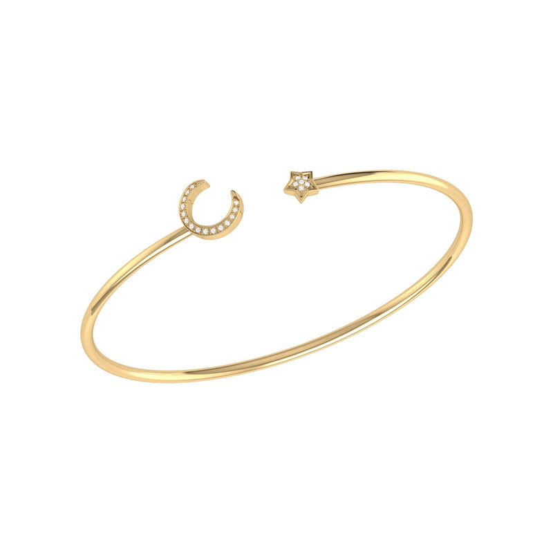 Moonlit Star Adjustable Diamond Cuff in 14K Yellow Gold Vermeil on Sterling Silver