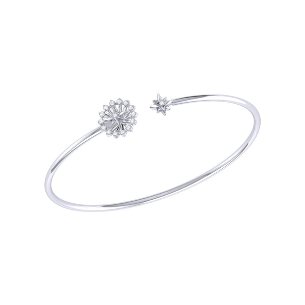 Starburst Adjustable Diamond Cuff in Sterling Silver