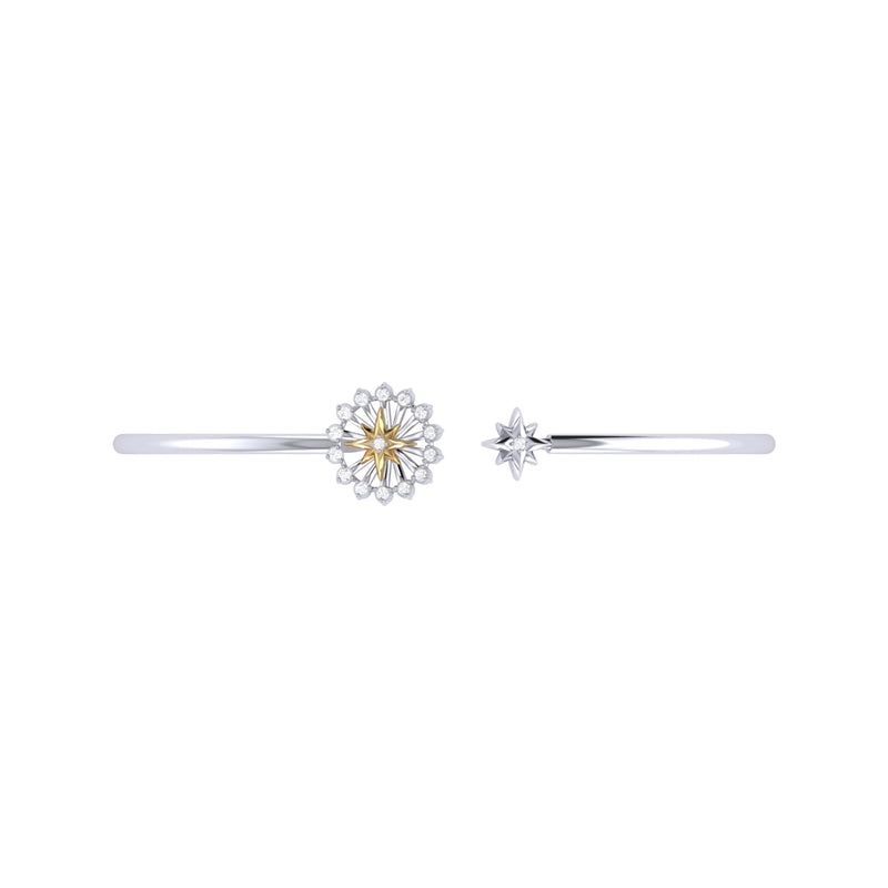 Starburst Adjustable Diamond Two-Tone Cuff in 14K Yellow Gold Vermeil on Sterling Silver