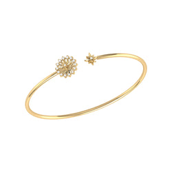 Starburst Adjustable Diamond Cuff in 14K Yellow Gold Vermeil on Sterling Silver