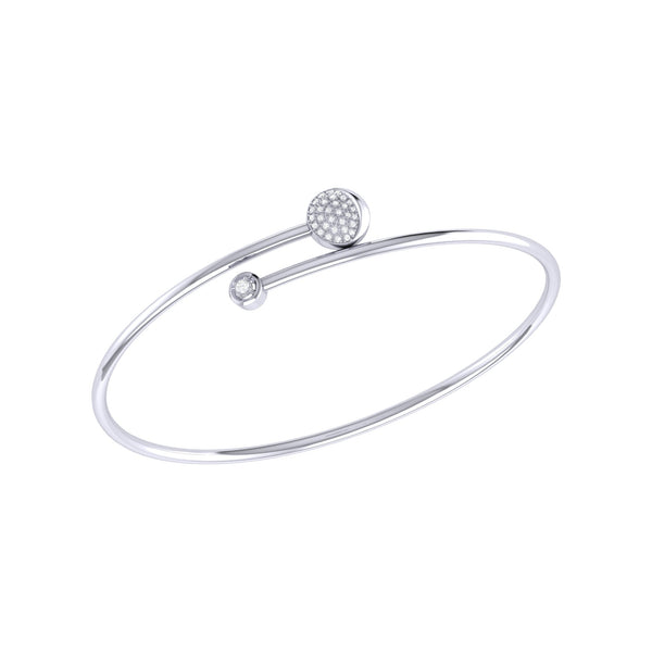 Moon-Crossed Lovers Adjustable Diamond Bangle in Sterling Silver